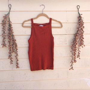 Madewell Burnt Orange Apron Knit Top